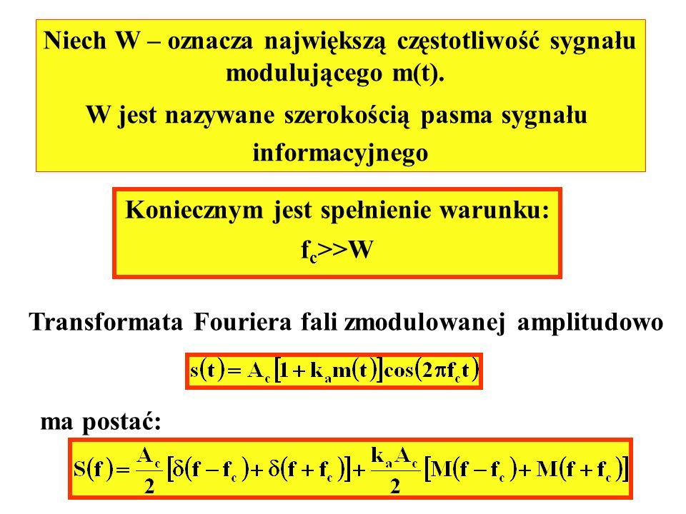 Niech W – oznacza największą częstotliwość sygnału modulującego m(t).