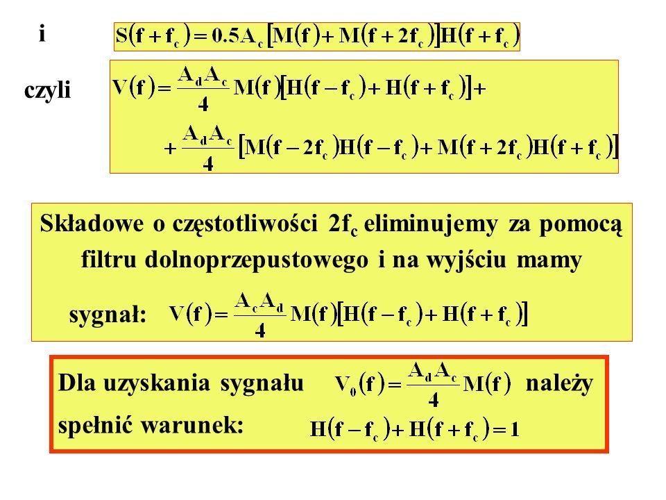 Składowe o częstotliwości 2fc eliminujemy za pomocą