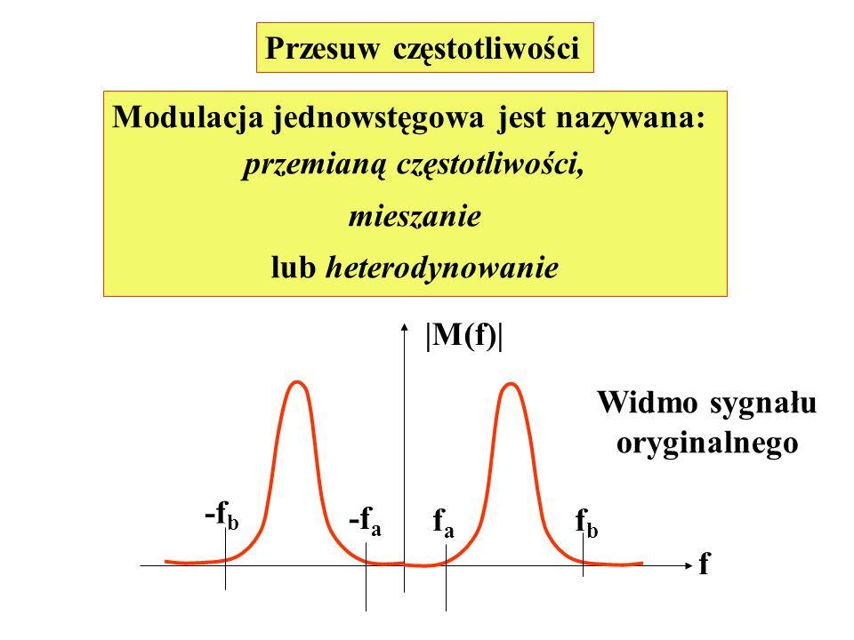 Modulacja jednowstęgowa jest nazywana: przemianą częstotliwości,