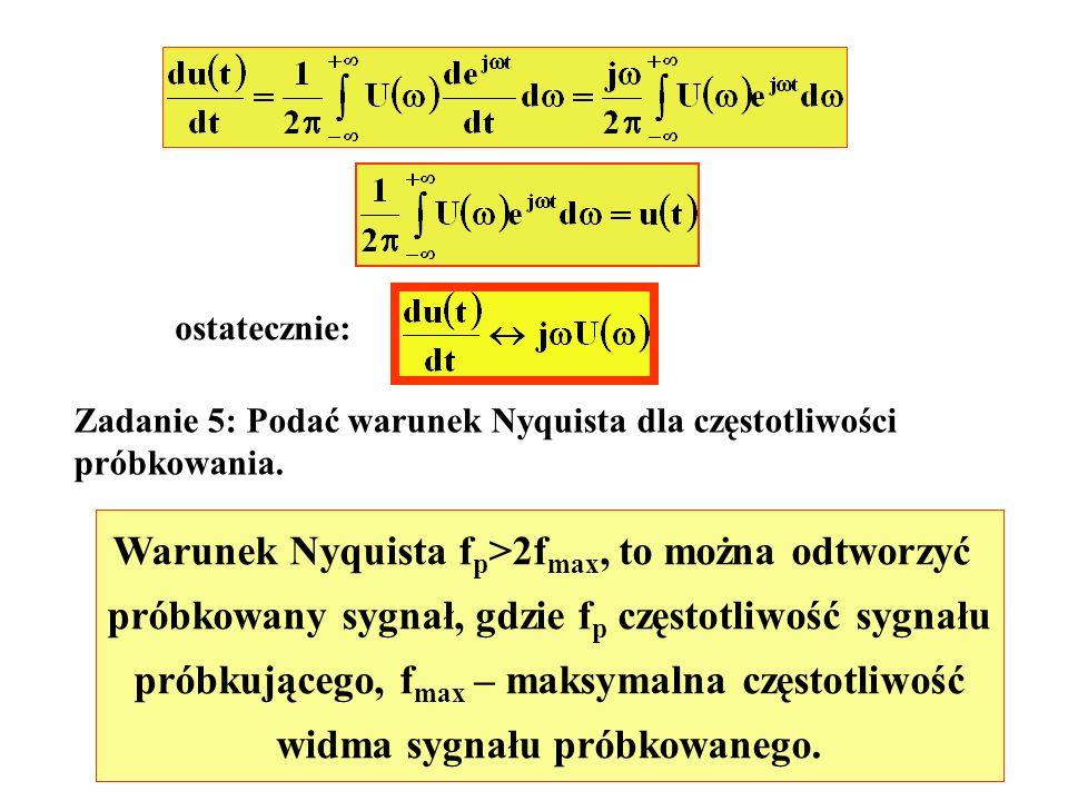 Warunek Nyquista fp>2fmax, to można odtworzyć