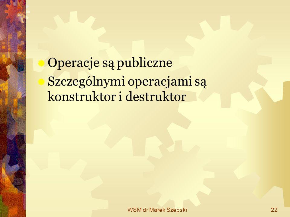 Szczególnymi operacjami są konstruktor i destruktor