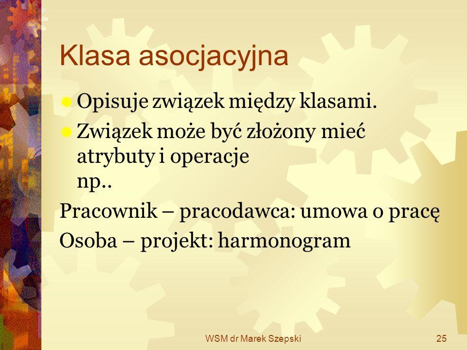 Klasa asocjacyjna Opisuje związek między klasami.
