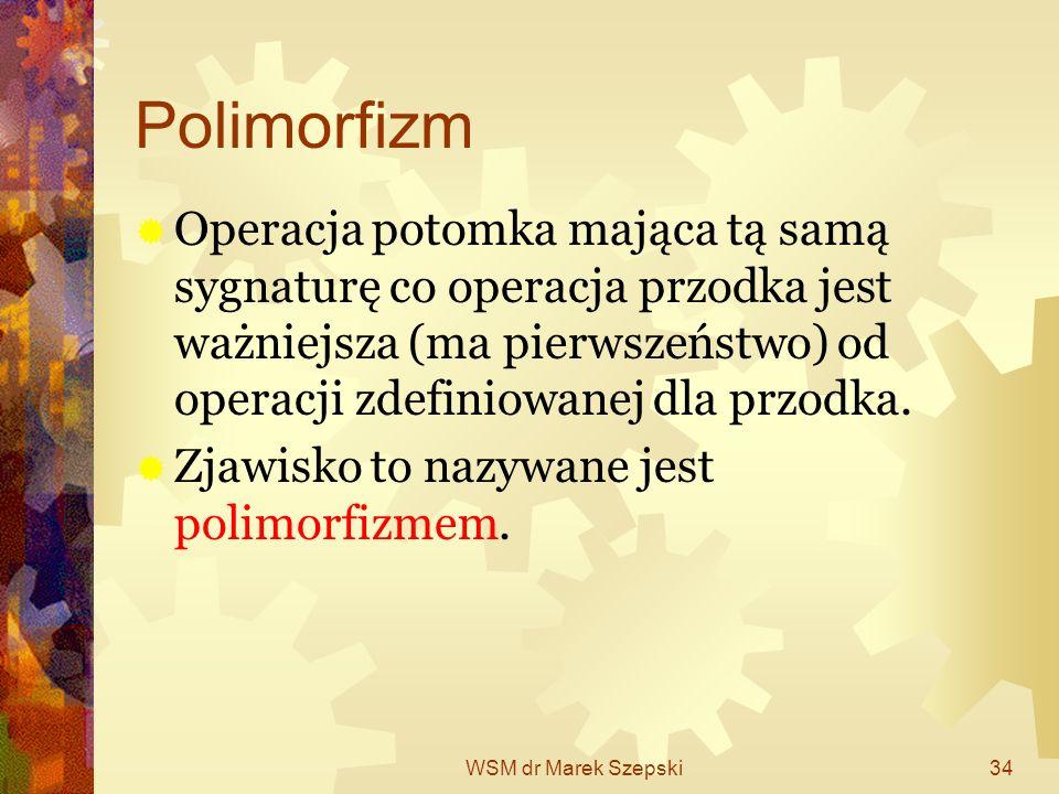 Polimorfizm Operacja potomka mająca tą samą sygnaturę co operacja przodka jest ważniejsza (ma pierwszeństwo) od operacji zdefiniowanej dla przodka.
