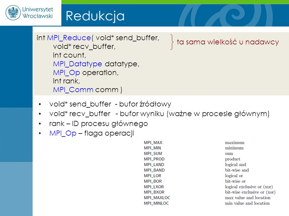 Redukcja int MPI_Reduce( void* send_buffer, void* recv_buffer,