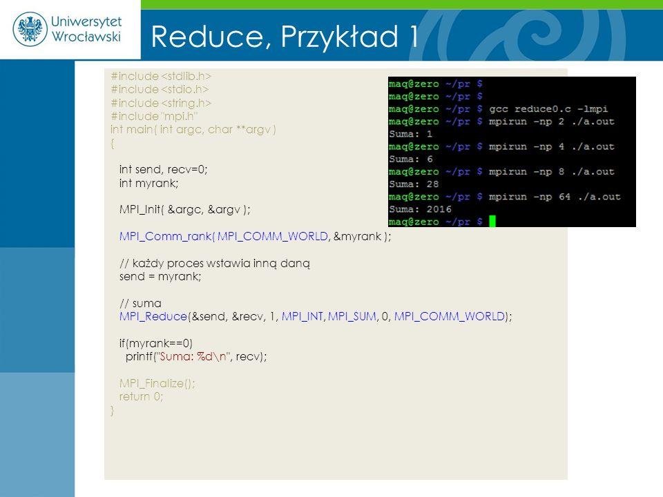 Reduce, Przykład 1 #include <stdlib.h> #include <stdio.h>
