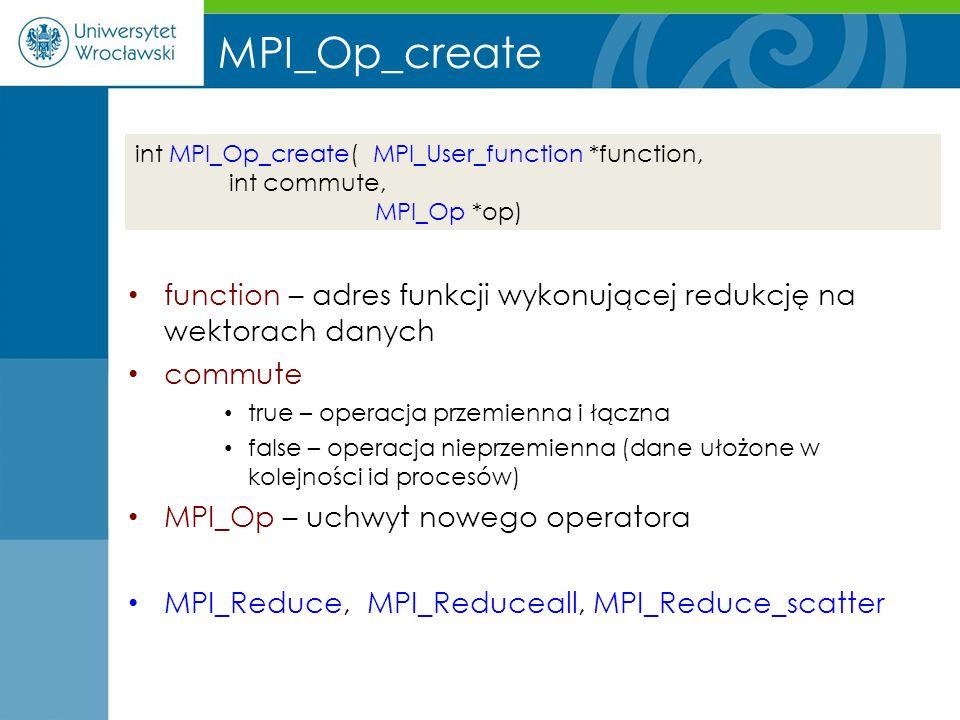 MPI_Op_create function – adres funkcji wykonującej redukcję na wektorach danych. commute. true – operacja przemienna i łączna.