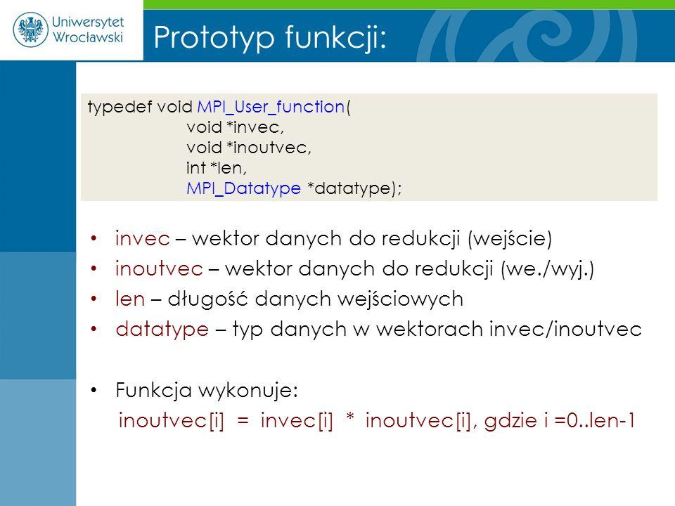Prototyp funkcji: invec – wektor danych do redukcji (wejście)