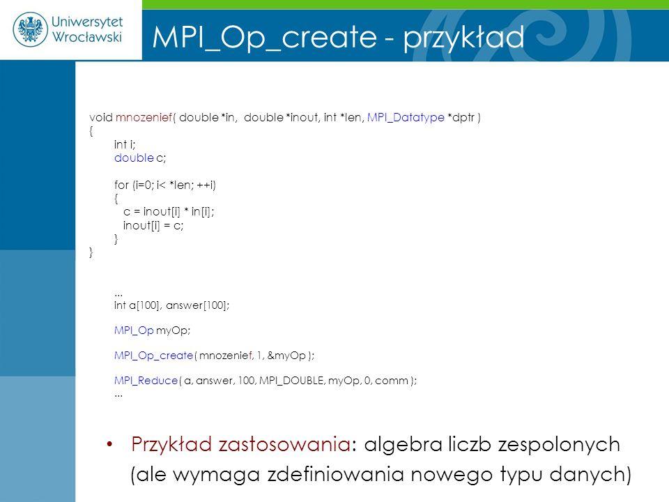 MPI_Op_create - przykład