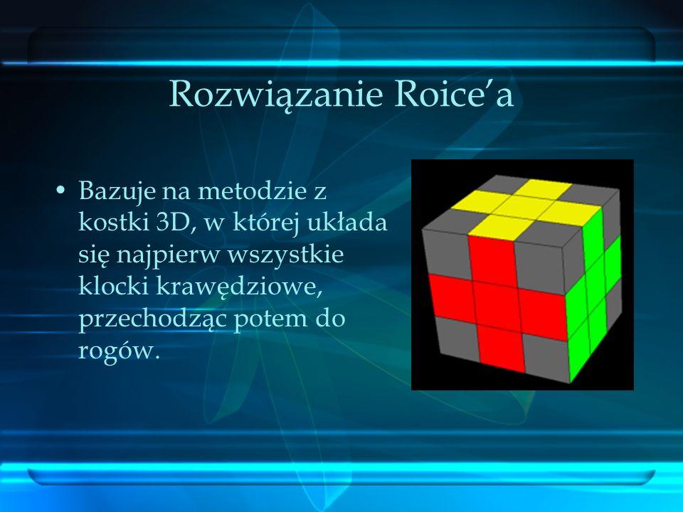Rozwiązanie Roice'aBazuje na metodzie z kostki 3D, w której układa się najpierw wszystkie klocki krawędziowe, przechodząc potem do rogów.