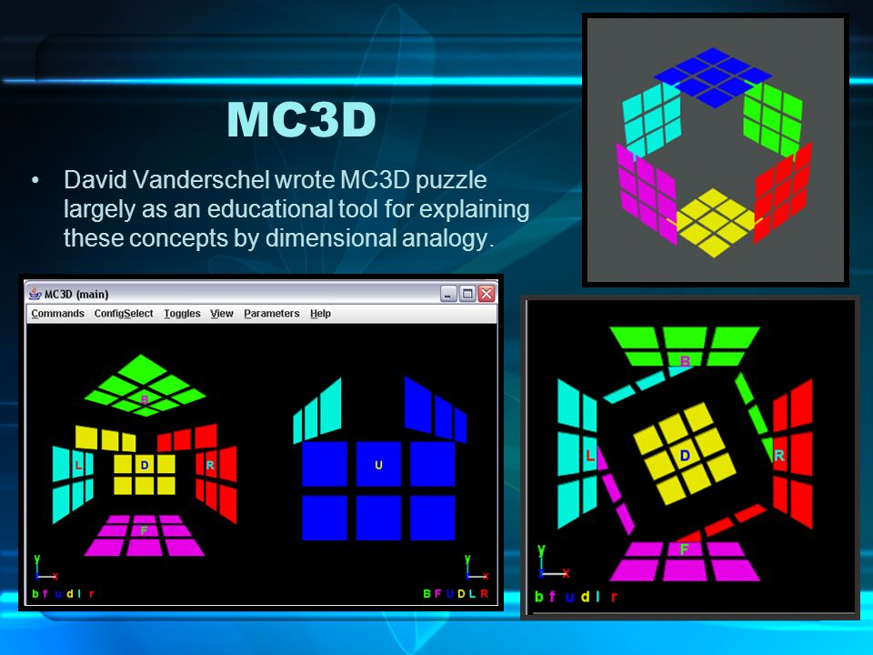 MC3DDavid Vanderschel wrote MC3D puzzle largely as an educational tool for explaining these concepts by dimensional analogy.