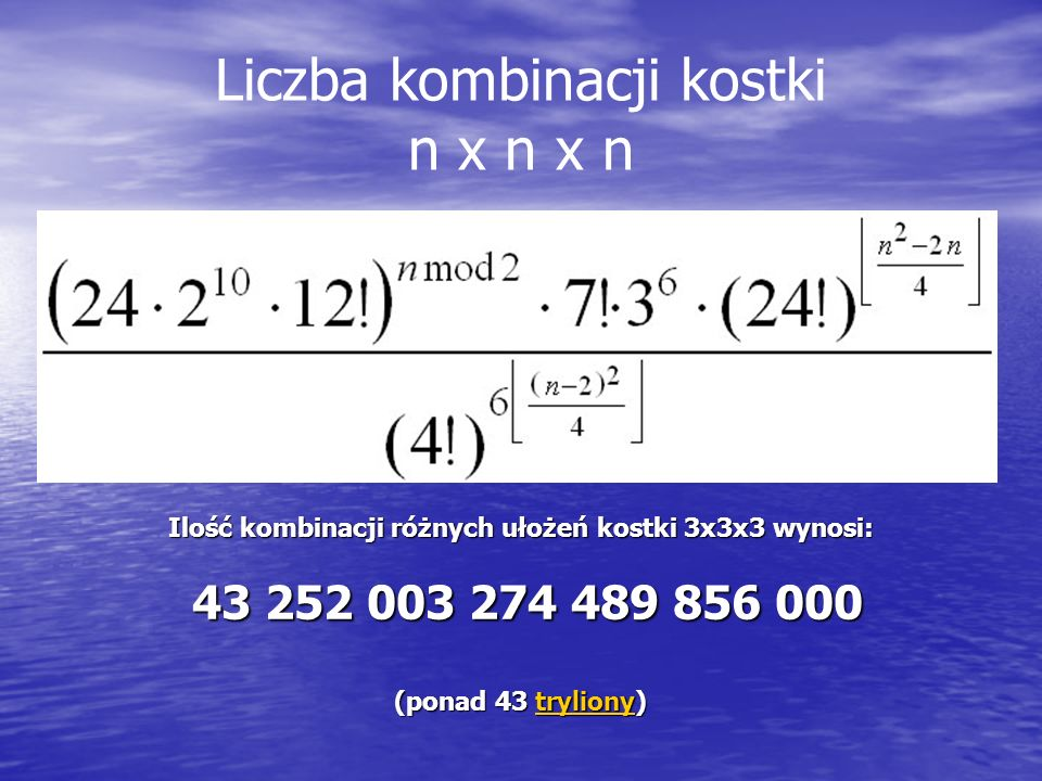 Liczba kombinacji kostki n x n x n