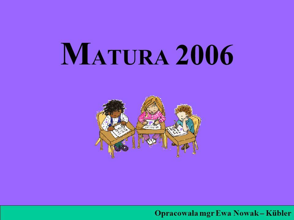 MATURA 2006 Opracowała mgr Ewa Nowak – Kübler