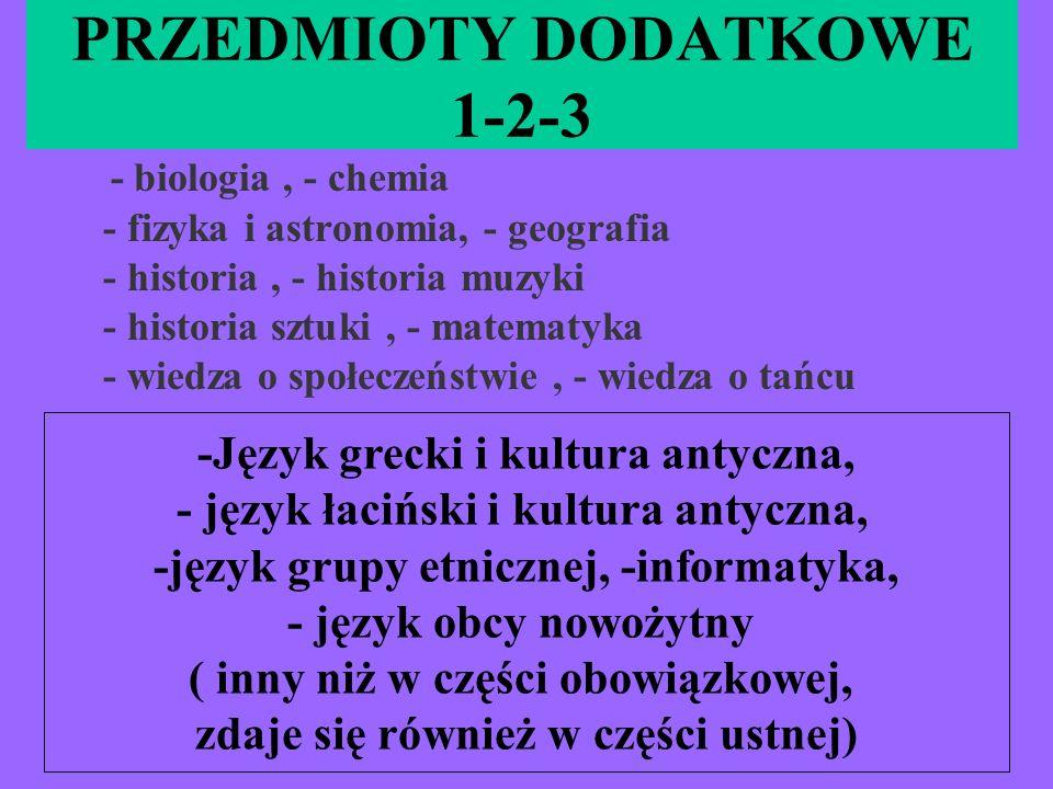 PRZEDMIOTY DODATKOWE 1-2-3