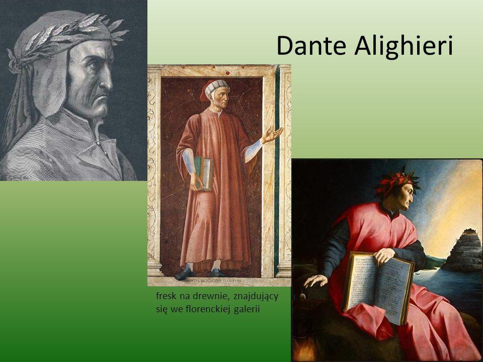 Dante Alighieri fresk na drewnie, znajdujący się we florenckiej galerii