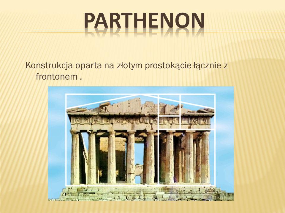 PARTHENON Konstrukcja oparta na złotym prostokącie łącznie z frontonem .