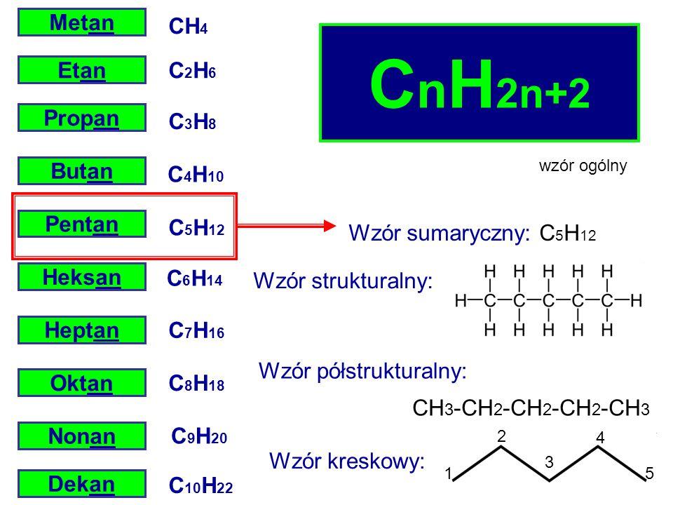 CnH2n+2 Metan CH4 Etan C2H6 Propan C3H8 Butan C4H10 Pentan C5H12