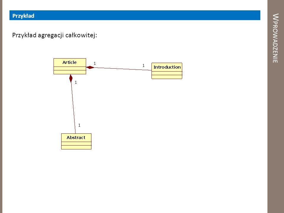 Przykład Wprowadzenie Przykład agregacji całkowitej: