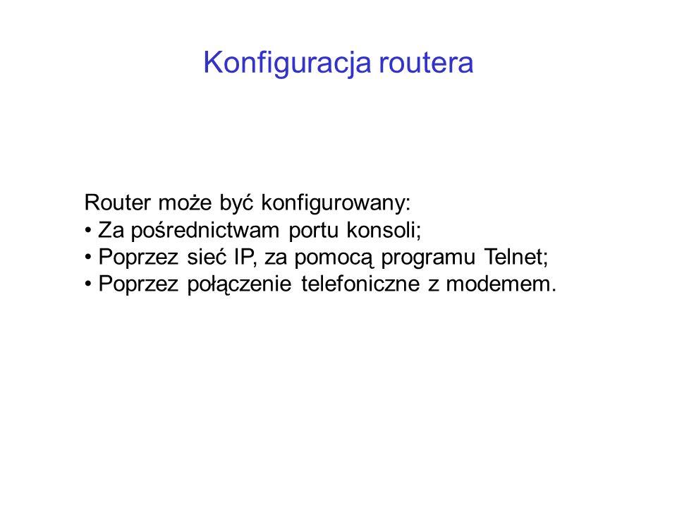 Konfiguracja routera Router może być konfigurowany: