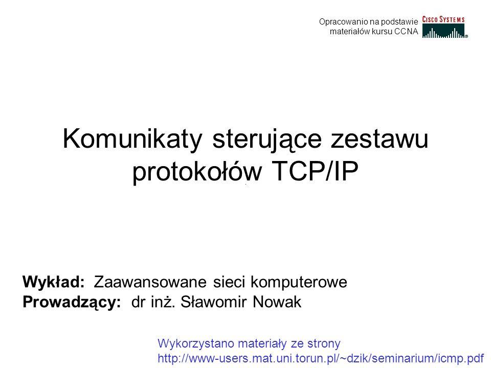 Komunikaty sterujące zestawu protokołów TCP/IP