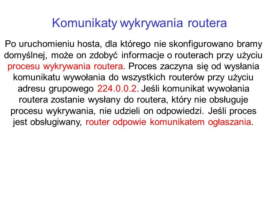Komunikaty wykrywania routera