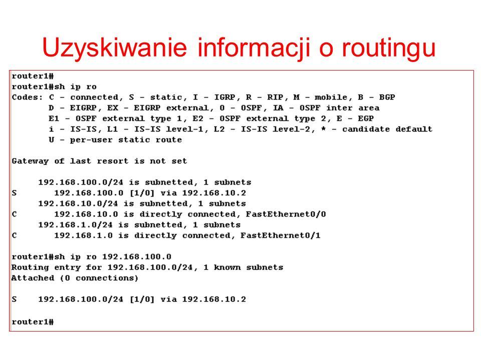 Uzyskiwanie informacji o routingu