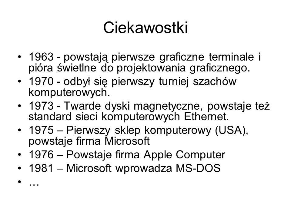 Ciekawostki 1963 - powstają pierwsze graficzne terminale i pióra świetlne do projektowania graficznego.
