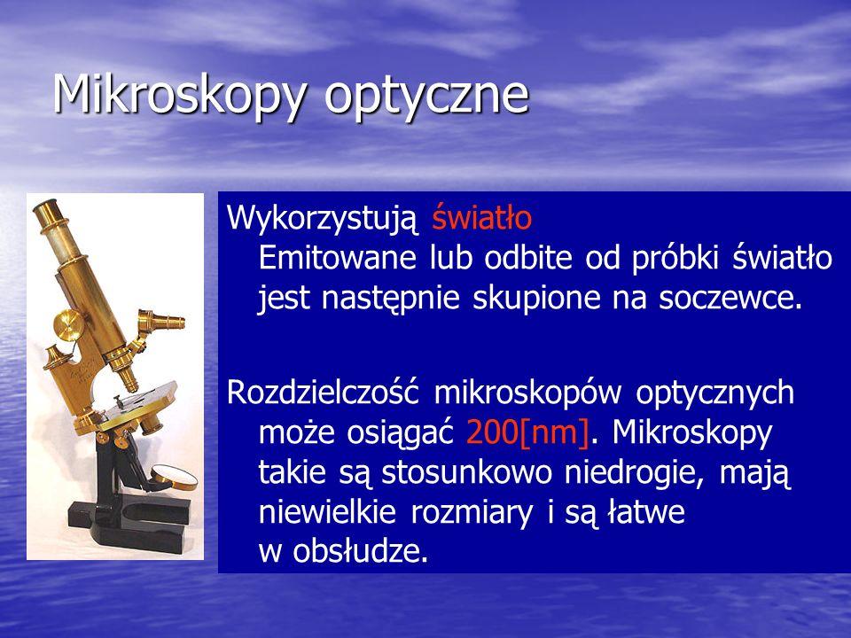 Mikroskopy optyczne Wykorzystują światło Emitowane lub odbite od próbki światło jest następnie skupione na soczewce.