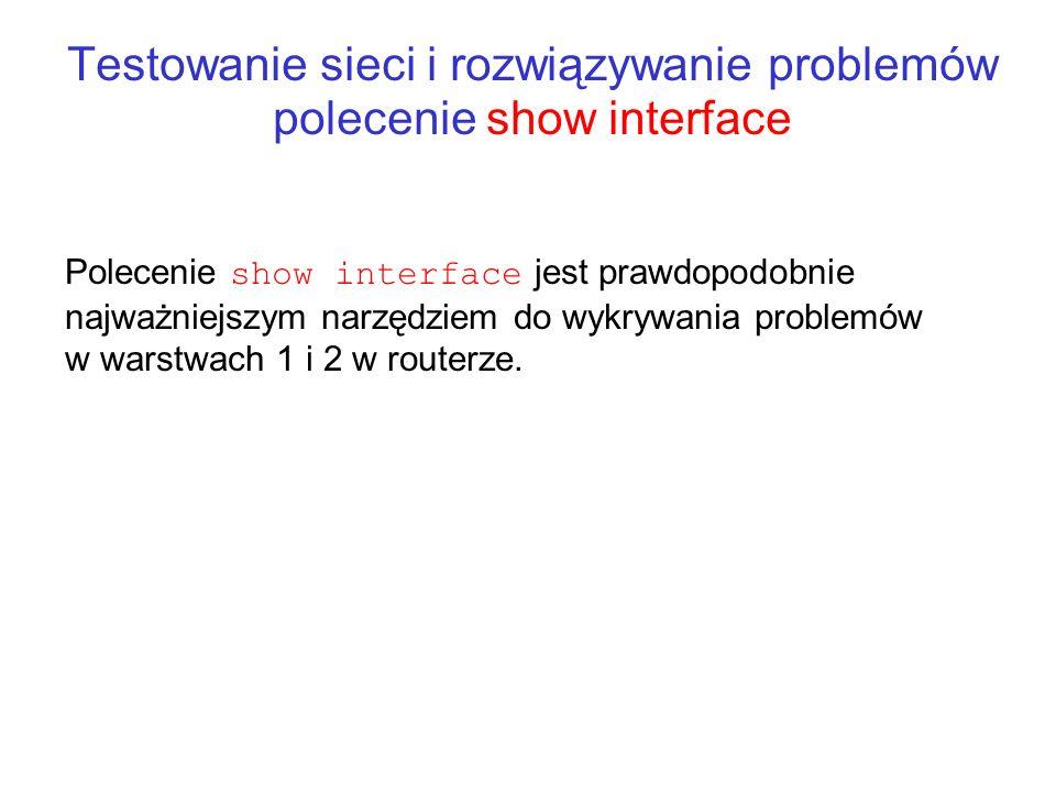 Testowanie sieci i rozwiązywanie problemów polecenie show interface