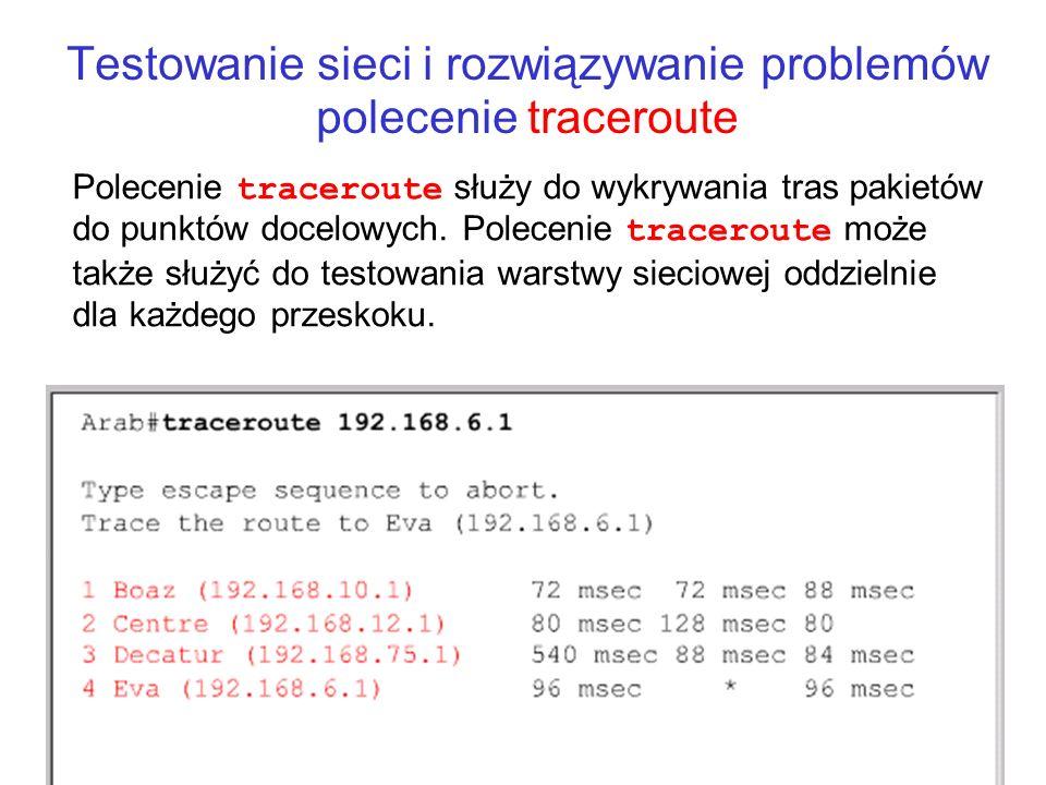 Testowanie sieci i rozwiązywanie problemów polecenie traceroute