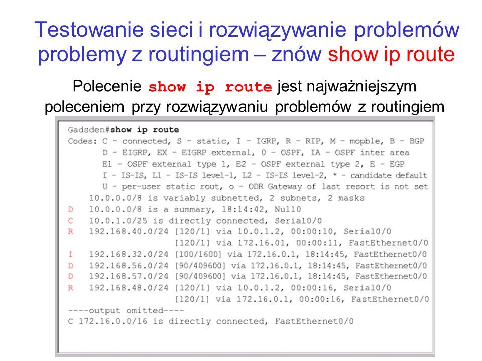 Testowanie sieci i rozwiązywanie problemów problemy z routingiem – znów show ip route