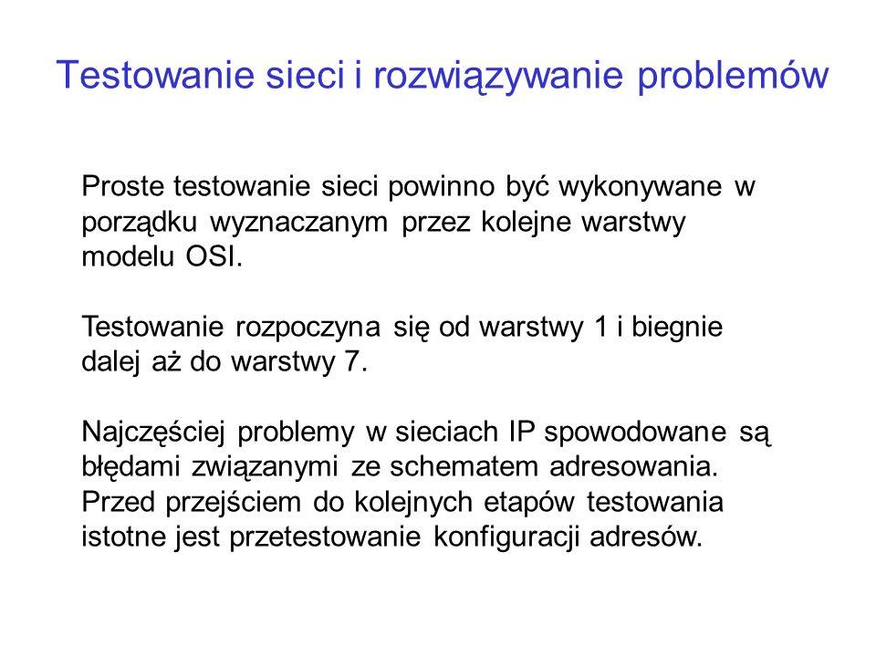 Testowanie sieci i rozwiązywanie problemów
