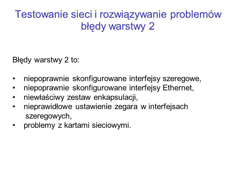 Testowanie sieci i rozwiązywanie problemów błędy warstwy 2