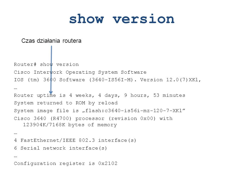 show version Czas działania routera Router# show version
