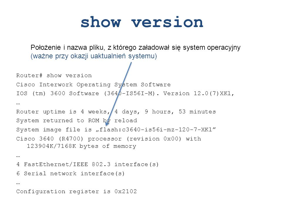 show version Położenie i nazwa pliku, z którego załadował się system operacyjny (ważne przy okazji uaktualnień systemu)