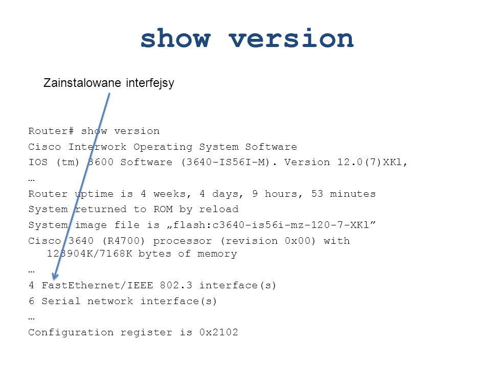 show version Zainstalowane interfejsy Router# show version