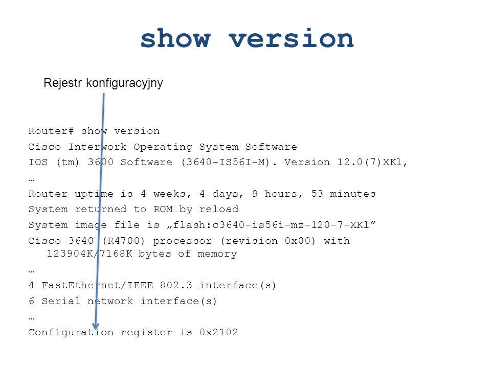 show version Rejestr konfiguracyjny Router# show version