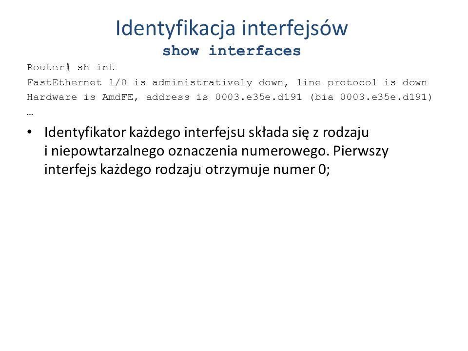 Identyfikacja interfejsów show interfaces