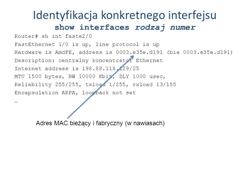 Identyfikacja konkretnego interfejsu show interfaces rodzaj numer