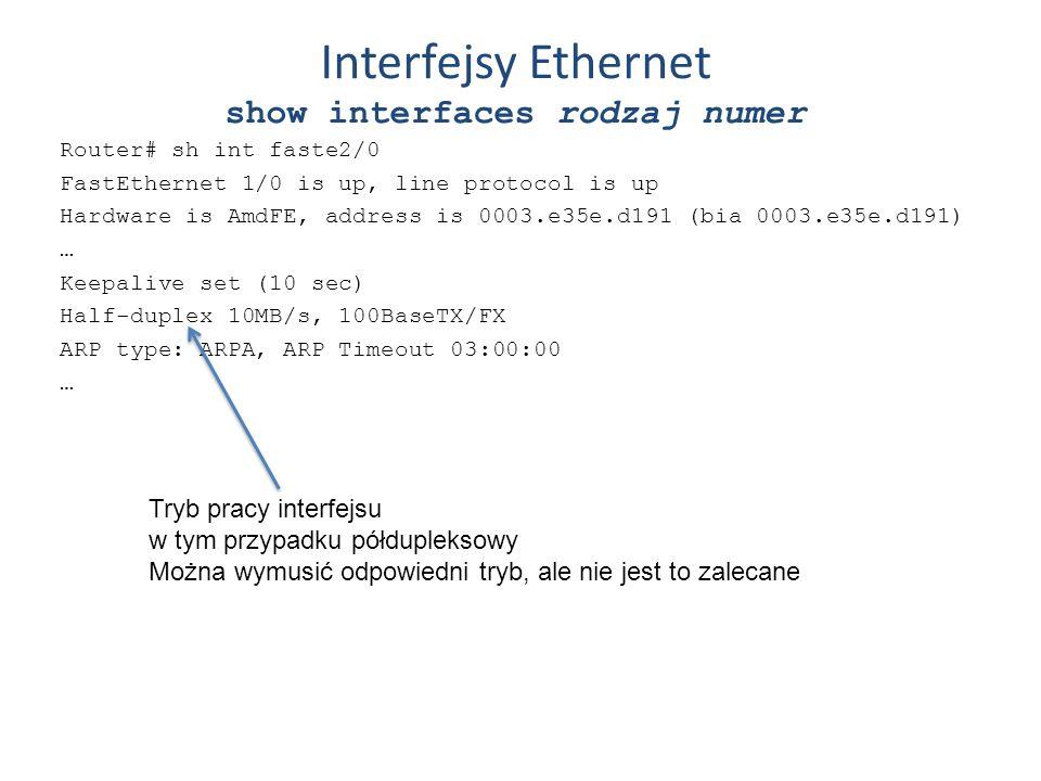 Interfejsy Ethernet show interfaces rodzaj numer