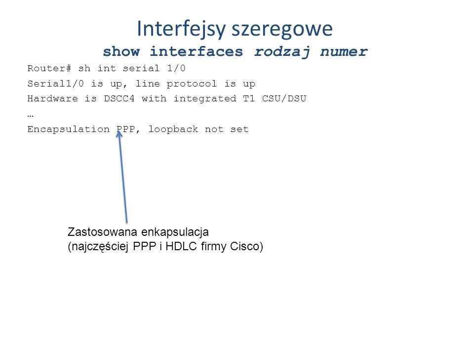 Interfejsy szeregowe show interfaces rodzaj numer