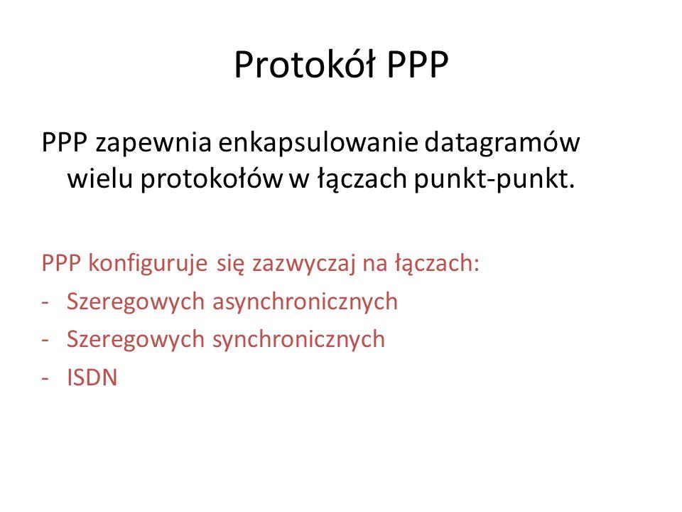 Protokół PPP PPP zapewnia enkapsulowanie datagramów wielu protokołów w łączach punkt-punkt. PPP konfiguruje się zazwyczaj na łączach: