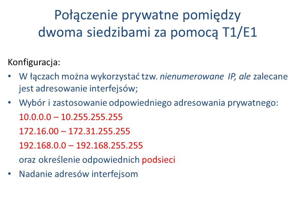 Połączenie prywatne pomiędzy dwoma siedzibami za pomocą T1/E1