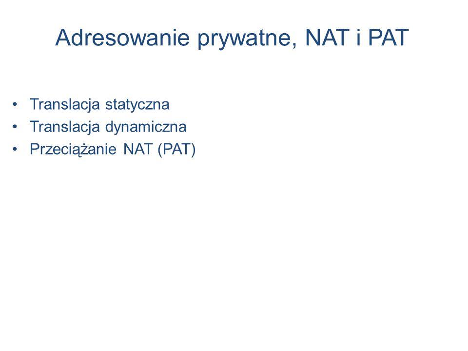 Adresowanie prywatne, NAT i PAT