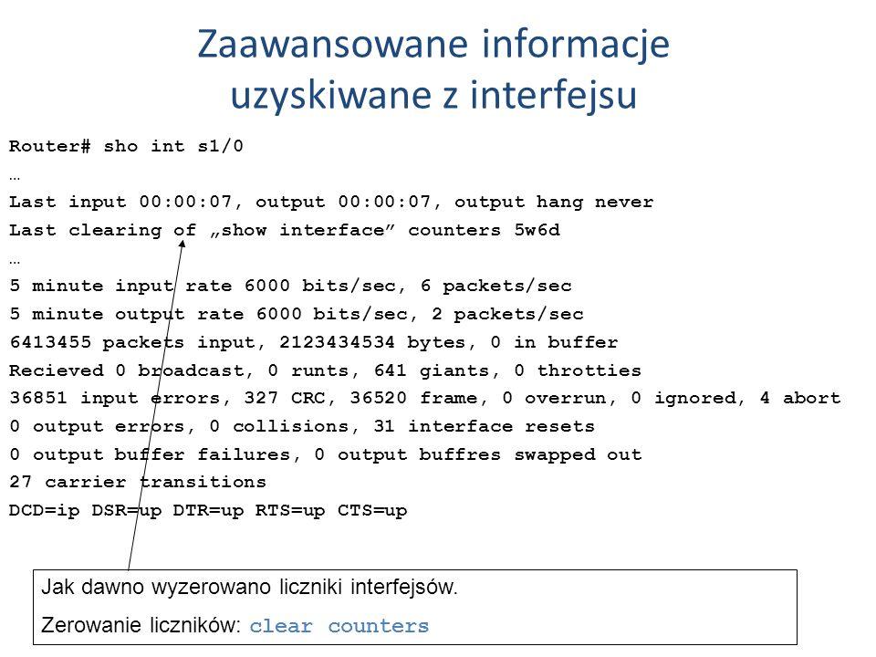 Zaawansowane informacje uzyskiwane z interfejsu