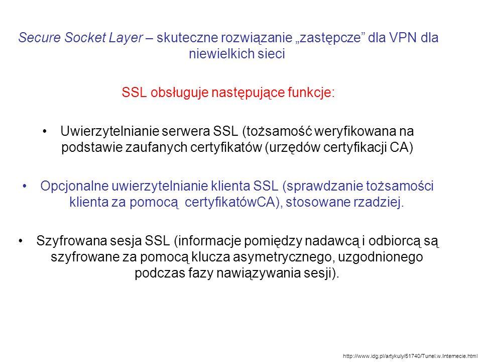 SSL obsługuje następujące funkcje: