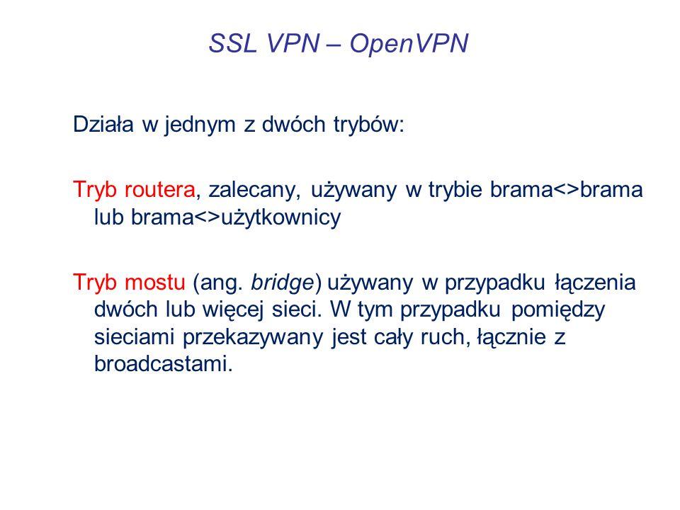 SSL VPN – OpenVPN Działa w jednym z dwóch trybów: