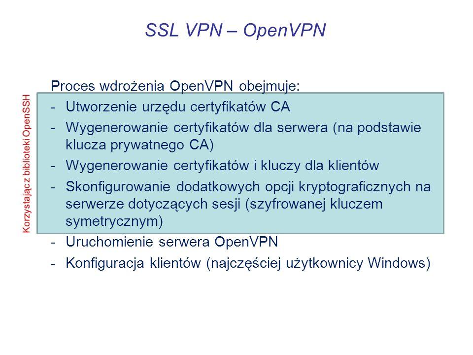 SSL VPN – OpenVPN Proces wdrożenia OpenVPN obejmuje: