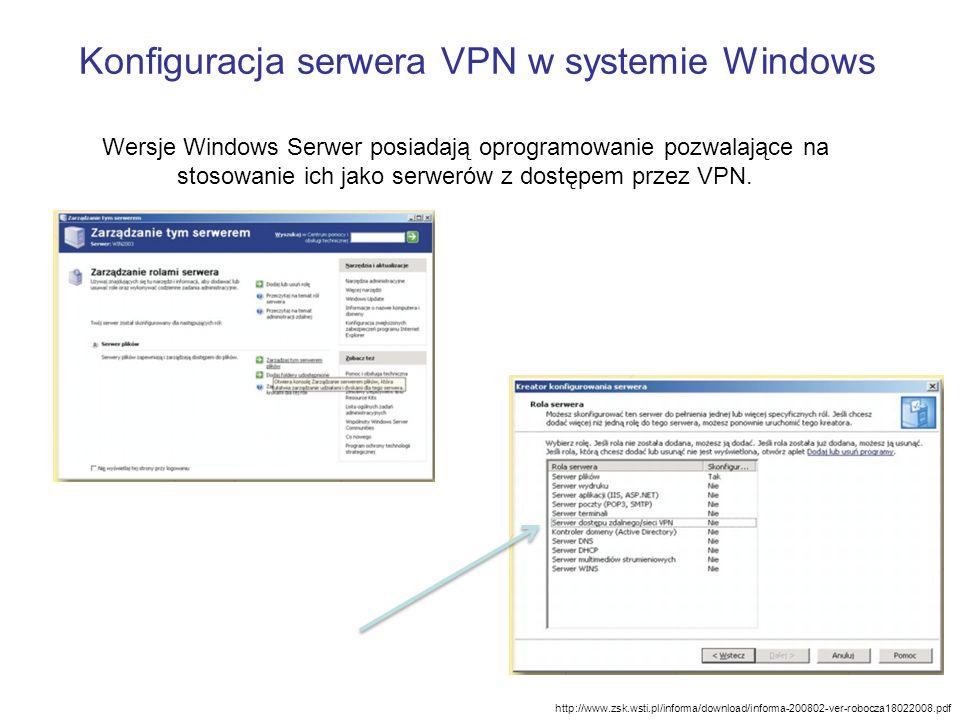 Konfiguracja serwera VPN w systemie Windows