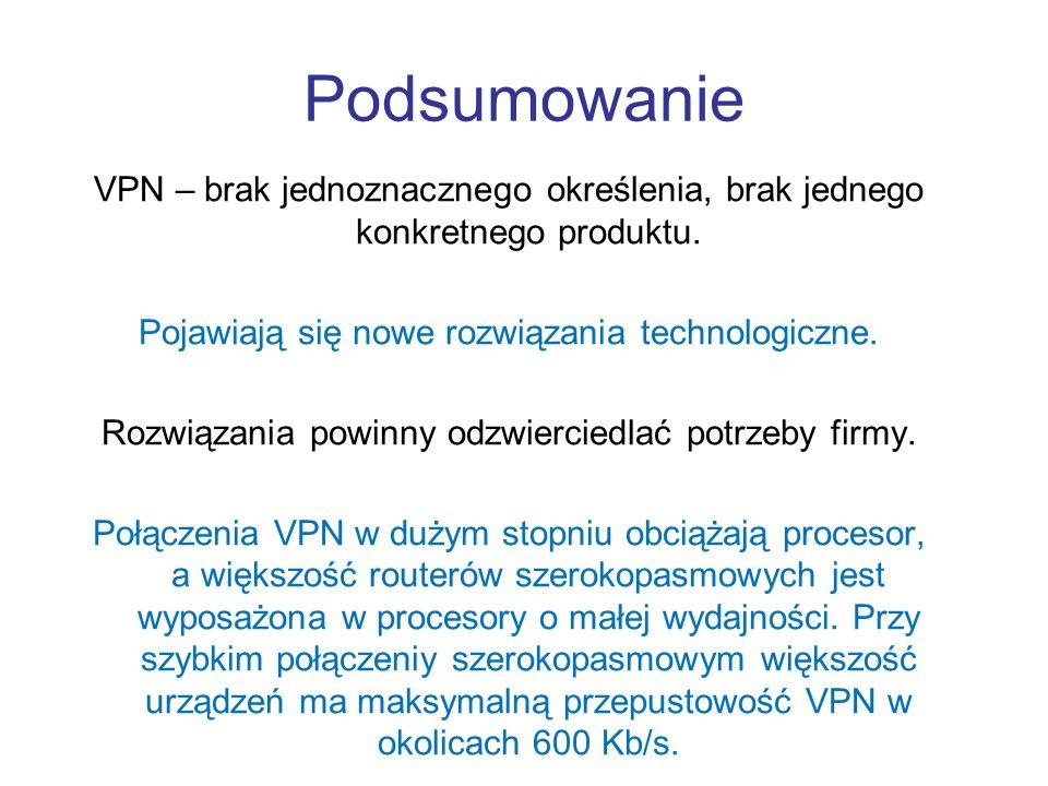 Podsumowanie VPN – brak jednoznacznego określenia, brak jednego konkretnego produktu. Pojawiają się nowe rozwiązania technologiczne.