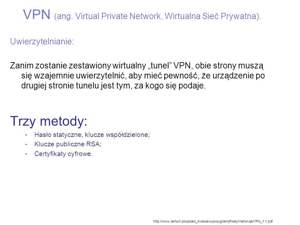 VPN (ang. Virtual Private Network, Wirtualna Sieć Prywatna).